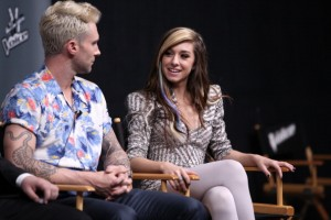 """THE VOICE -- """"Live Finale"""" Episode 621B -- Pictured: (l-r) Adam Levine, Christina Grimmie -- (Photo by: Tyler Golden/NBC/NBCU Photo Bank via Getty Images)"""