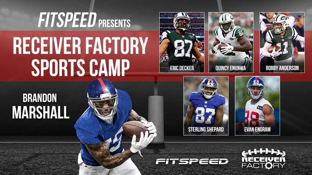 new product 75677 70b00 Brandon Marshall of the NY Giants Hosts Youth Football Camp ...