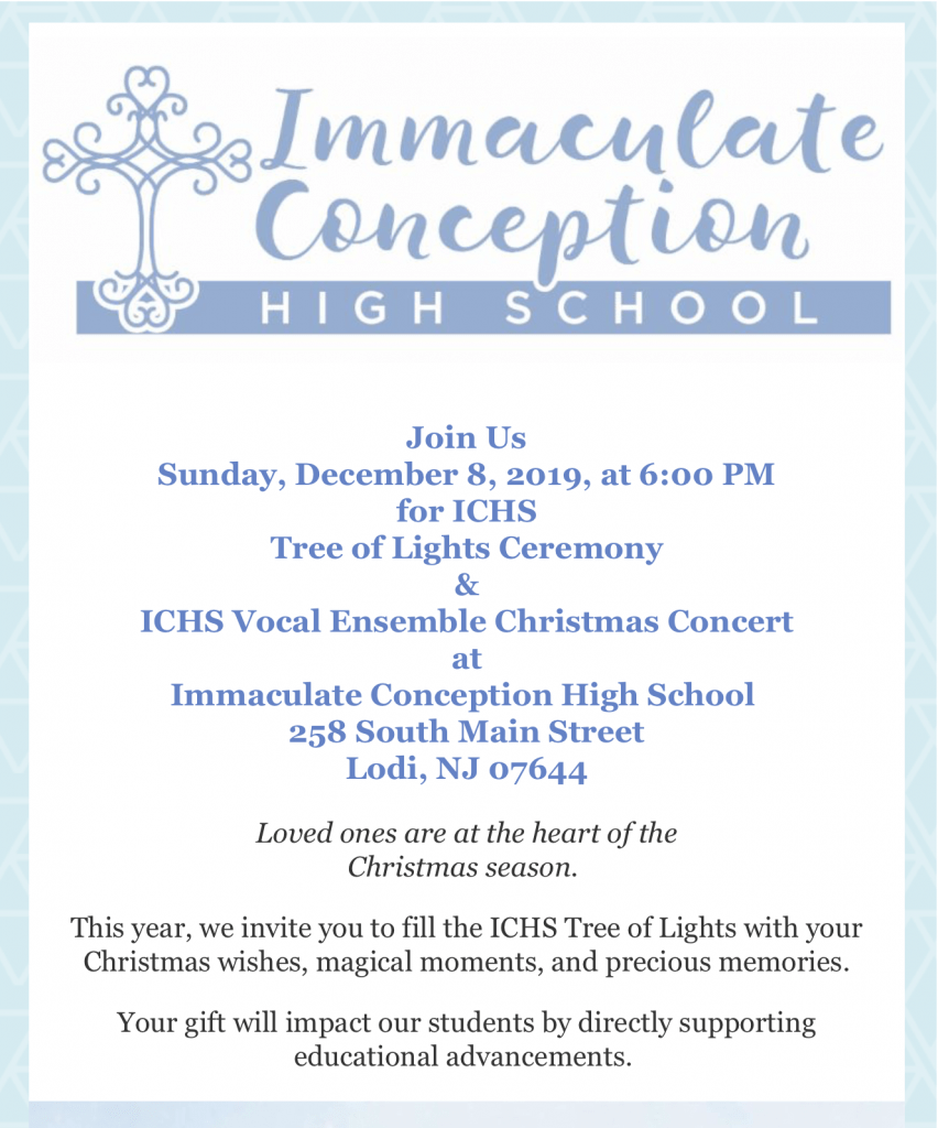 Christmas Tree Blessing and ICHS Vocal Ensemble Concert @ Immaculate Conception High School