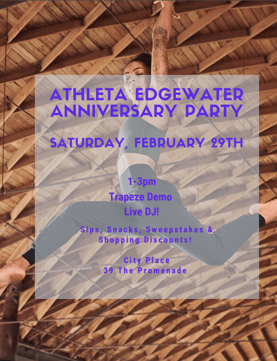 Athleta Will Celebrate Its One-Year Anniversary February 29 @ Athleta, City Place